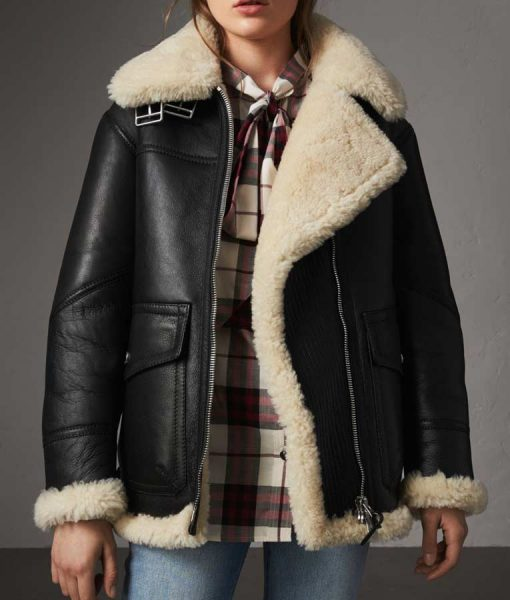 Womens Ivory Aviator Shearling Jacket