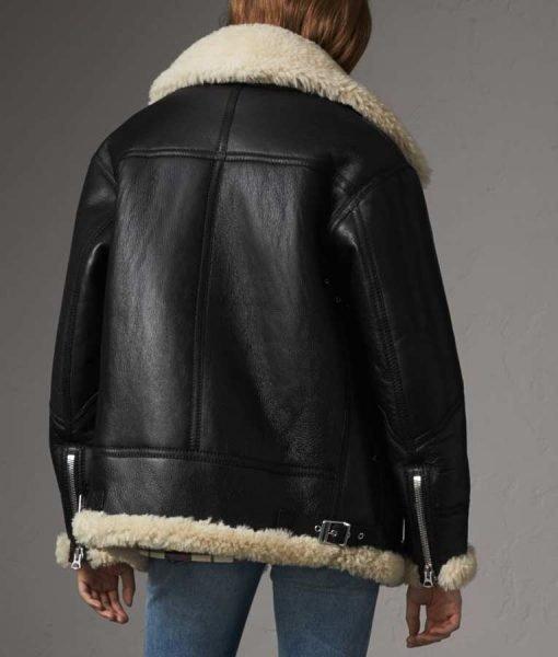 Womens Ivory Aviator Shearling Leather Jacket
