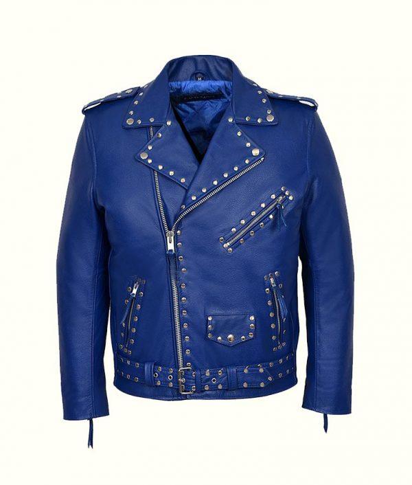 Blue Studded Motorcycle Leather Jacket