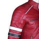 Mens Red Cafe Racer Jacket