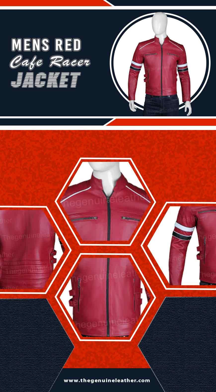 Mens Red Cafe Racer Jacket Infography