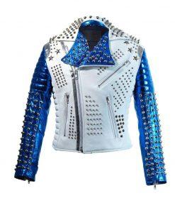 Mens Studded White & Blue Biker Jacket
