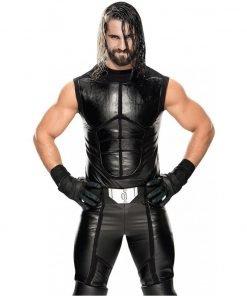 Seth Rollins WWE Black Leather Vest