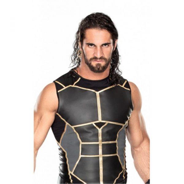 WWE Seth Rollins Black Leather Vest