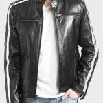 Mens Cafe Racer White Striped Black Leather Jacket