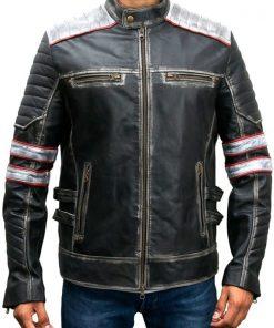 Mens Distressed Retro Cafe Racer Jacket