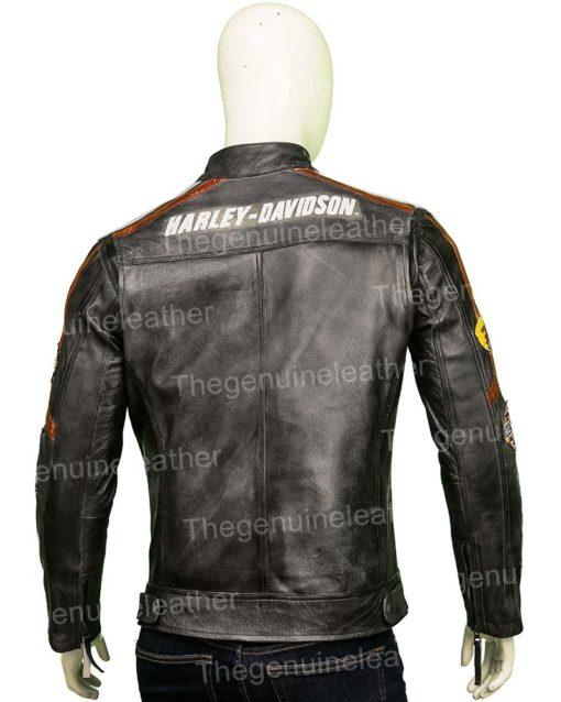 Harley Davidson Distressed Black Leather Jacket