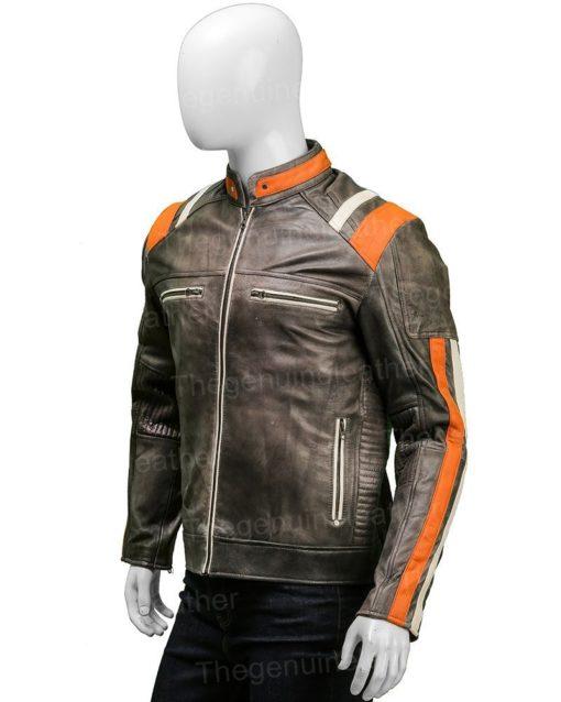 Men Cafe Racer Skull Biker Black Leather Jacket