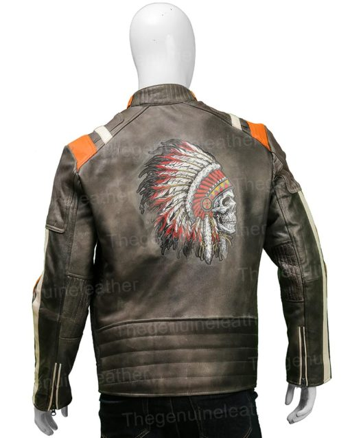 Men Cafe Racer Skull Biker Jacket