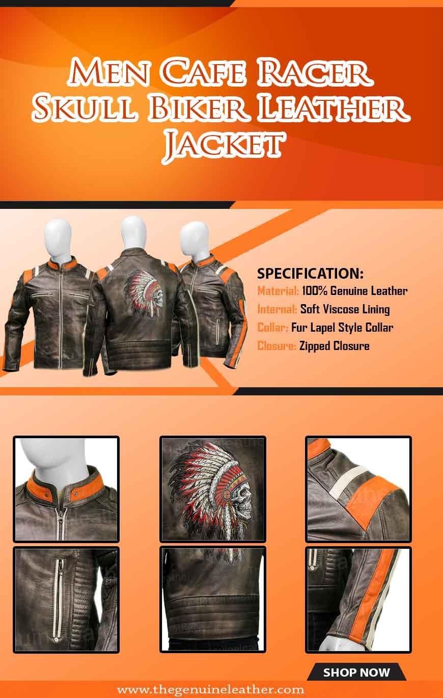Men Cafe Racer Skull Biker Leather Jacket