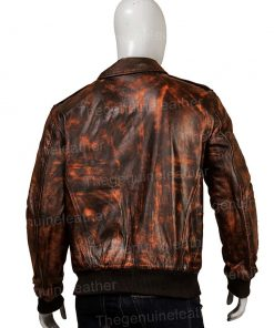 Men Distressed Brown Leather Jacket