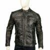 Men Distressed Shoulder Design Leather Jacket