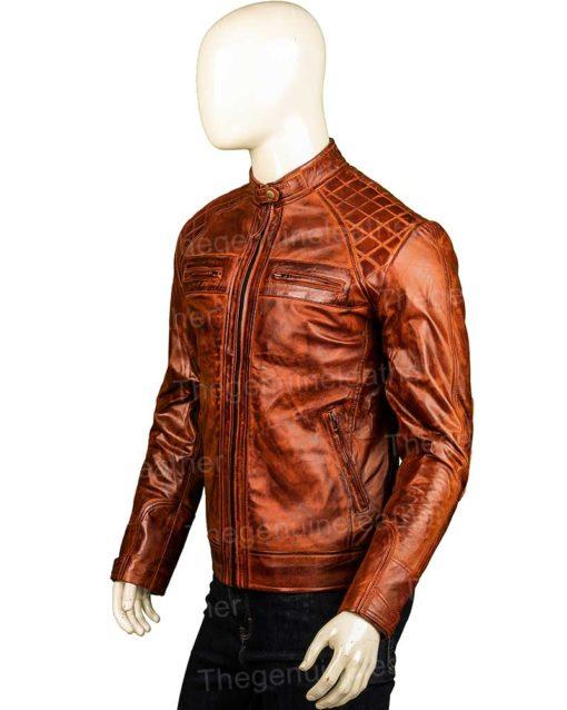 Men Shoulder Design Brown Jacket