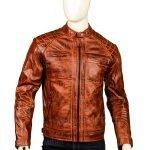 Men Shoulder Design Brown Leather Jacket