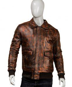 Mens Distressed Brown Leather Jacket