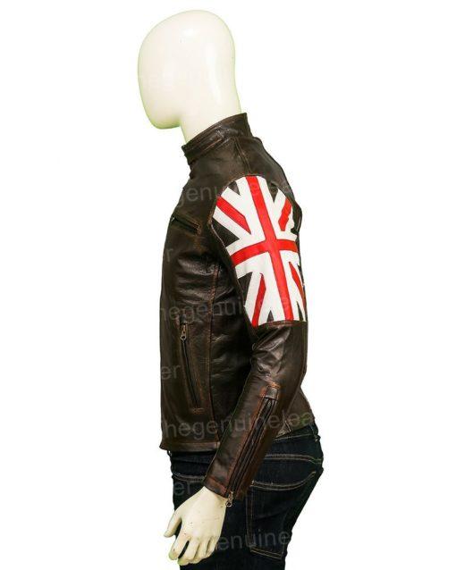 United Kingdom Flag Cafe Racer Brown Jacket