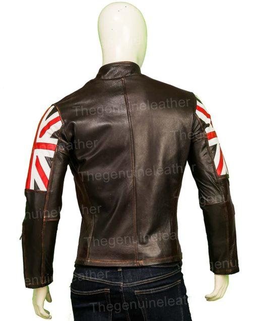 United Kingdom Flag Cafe Racer Brown Leather Jacket