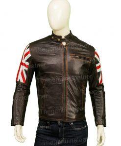 United Kingdom Flag Cafe Racer Leather Jacket