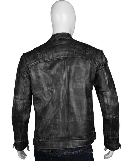 Men Distressed Shoulder Design Black Jacket