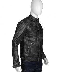 Men Distressed Shoulder Design Black Leather Jacket