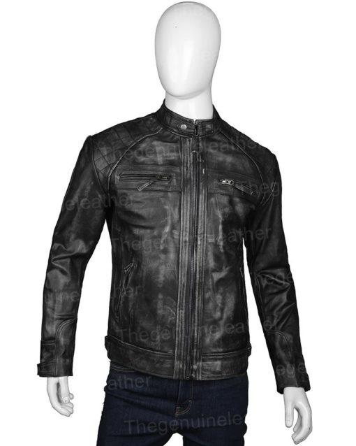 Men Distressed Shoulder Design Jacket