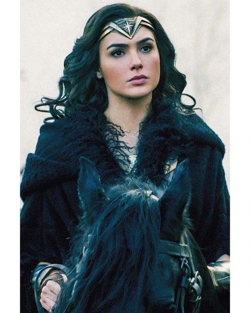 Wonder Woman Diana Prince Black Shearling Coat