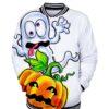 Funny Halloween Pumpkin Print Bomber Jacket