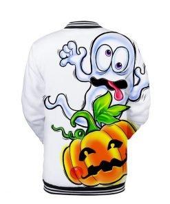 Funny Halloween Pumpkin Print White Bomber Jacket