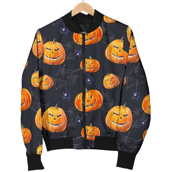Halloween Pumpkin Print Women Bomber Jacket