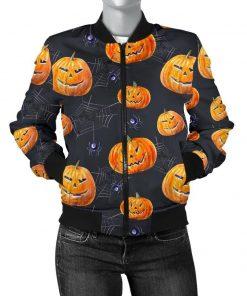 Halloween Pumpkin Print Women Jacket