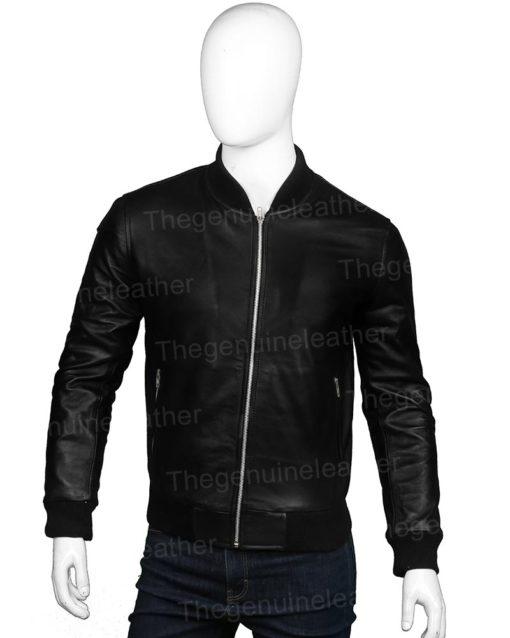 Mens Black Leather Bomber Jacket