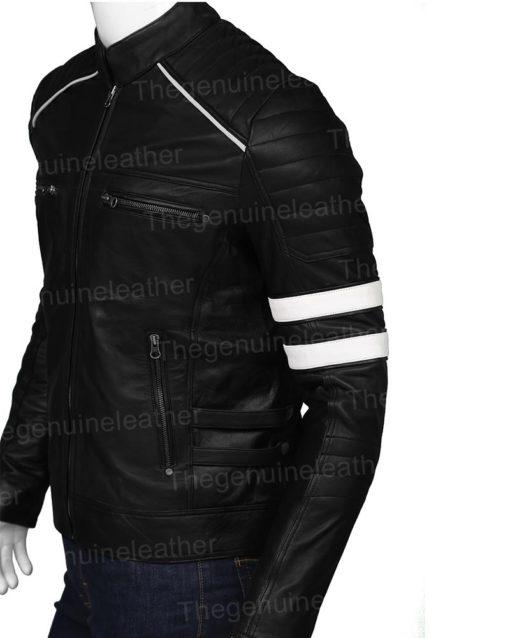 Mens Cafe Racer Retro Black Jacket