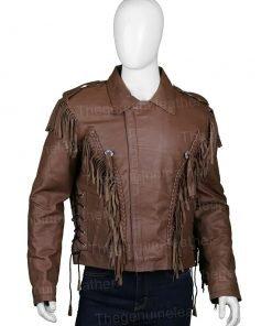 Tiger King Joe Exotic Leather Fringe Jacket
