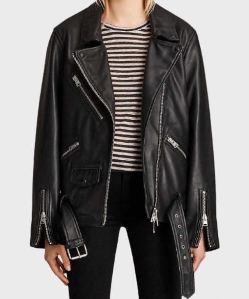 Emily In Paris Camille Razat Black Leather Jacket