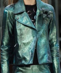 Emily In Paris Emily Cooper Green Metallic Jacket