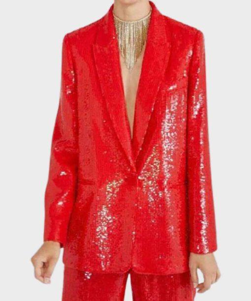 Emily In Paris Emily Cooper Red Sequin Blazer