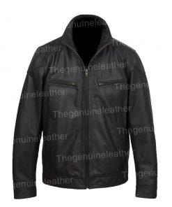 Halloween Wings Printed Black Leather Jacket