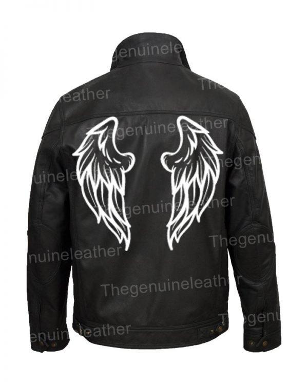 Halloween Wings Printed Leather Jacket