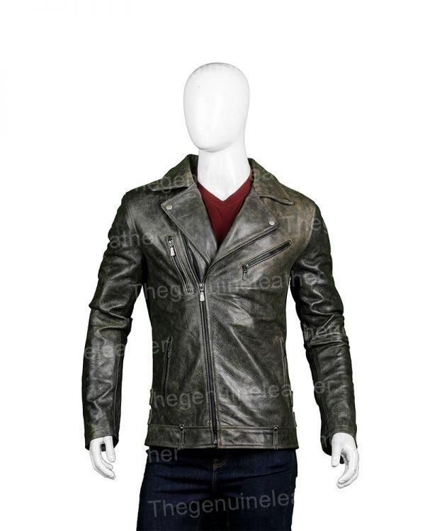 Mens Distressed Black Leather Biker Jacket