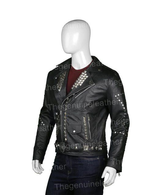 Mens Studded Black Leather Biker Jacket