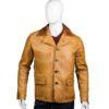 Mens Tan Brown Leather Blazer Coat