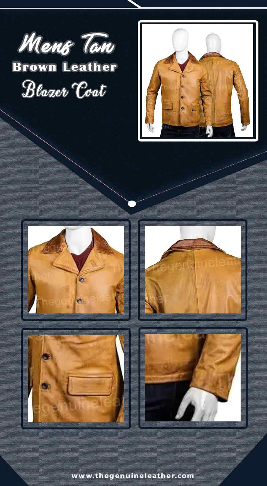 Mens Tan Brown Leather Blazer Coat info