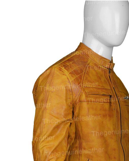 Mens Waxed Shoulder Leather Biker Jacket
