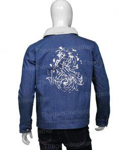Tell Me Why Tyler Ronan Shearling Blue Denim Jacket