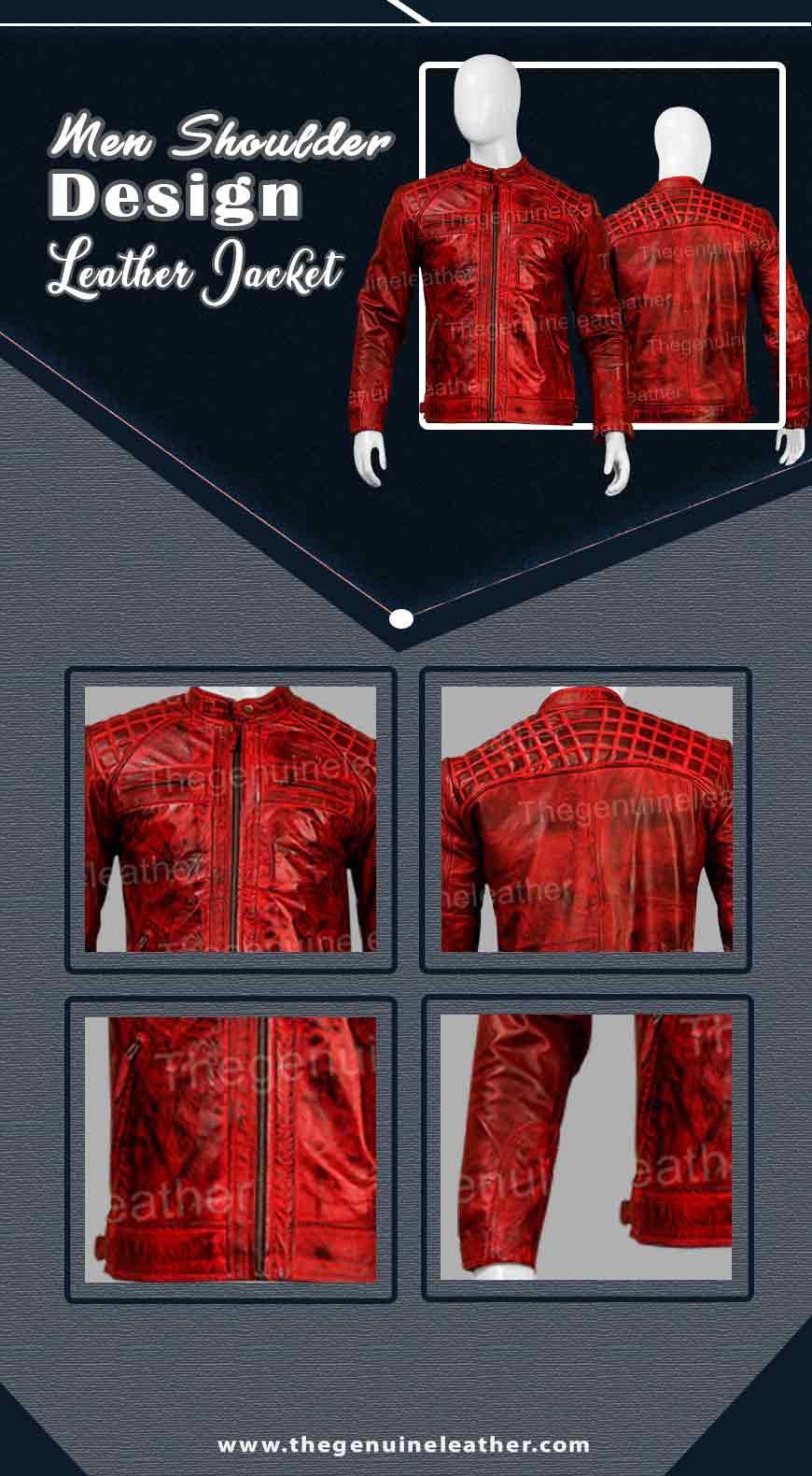 Men Shoulder Design Leather Jacket Infography