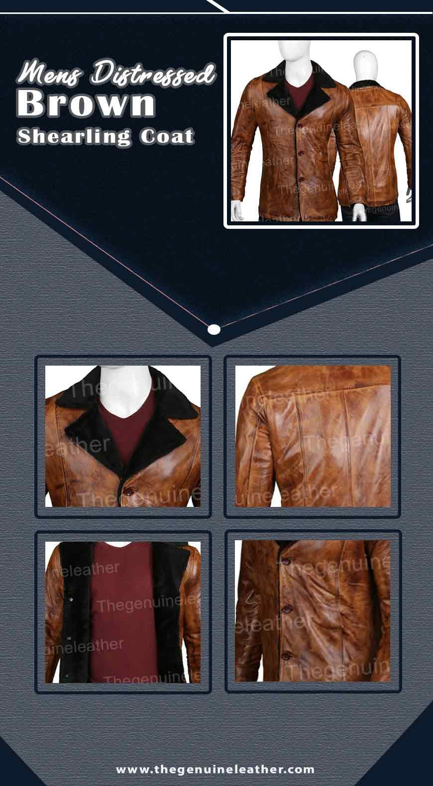 Mens Distressed Brown Shearling Coat