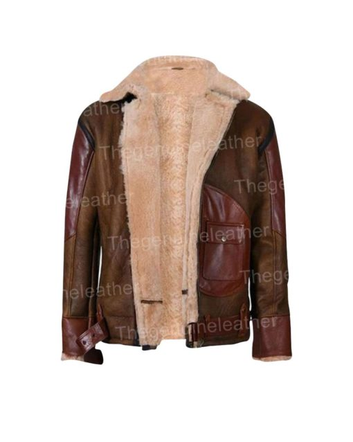 Mens Maroon Leather Shearling Jacket