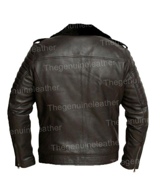 Mens Motorcycle Black Shearling Jacket