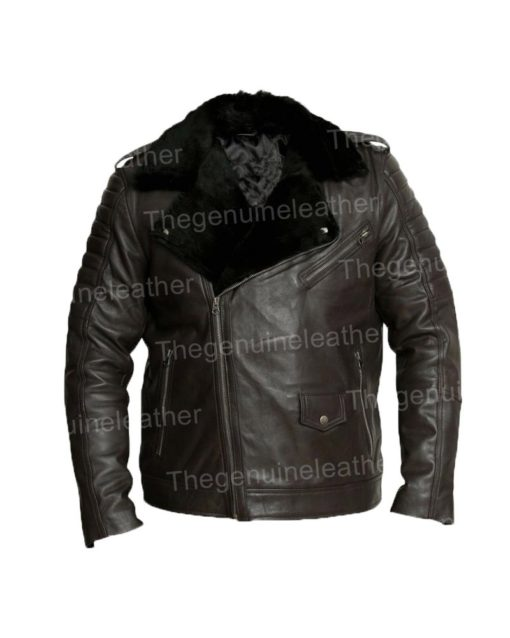 Mens Motorcycle Black Shearling Leather Jacket