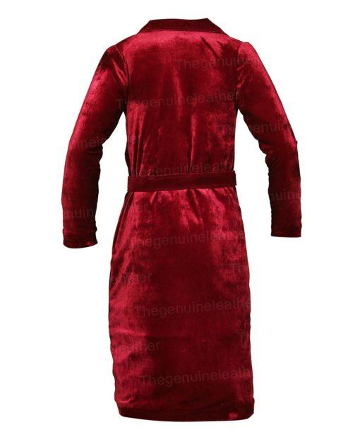 Nicole Kidman The Undoing Maroon Velvet Trench Coat